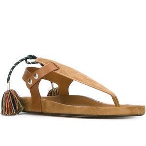 Isabel Marant Lee Tassel Brown Suede Thong Sandals
